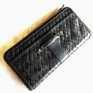 Cole Haan leather village weave black long wallet